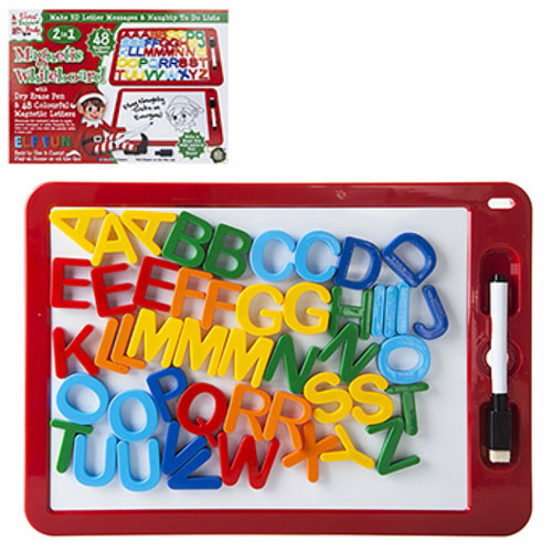 Elf wipe off the board with magnetic letters