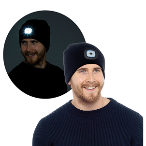 Adult Black LED Beanie Hat
