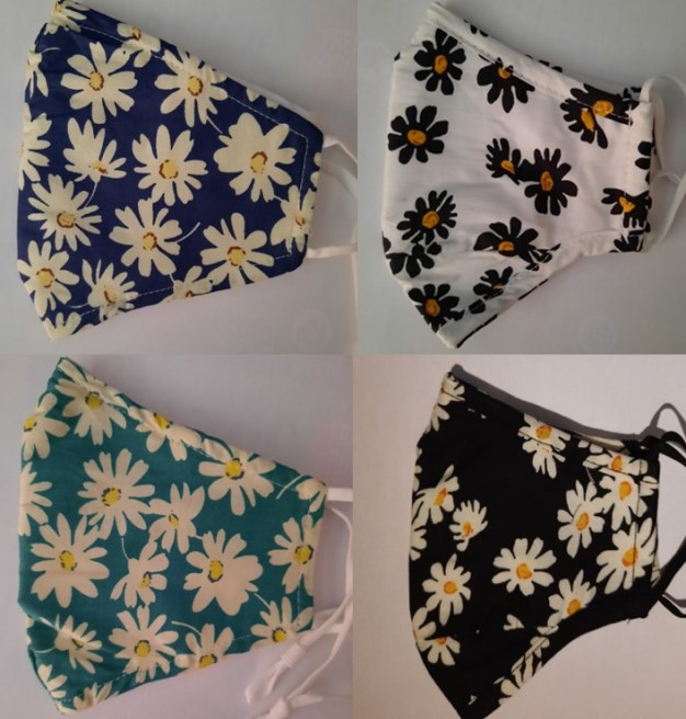 4 x Adult 3 layer cotton facemasks with floral pattern online special offer